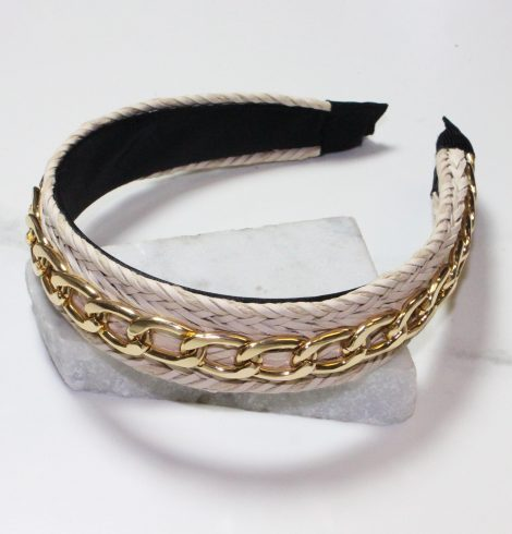 A photo of the Gold Chain Headband In Beige product