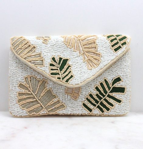A photo of the Mini Tropical Beaded Clutch in White product