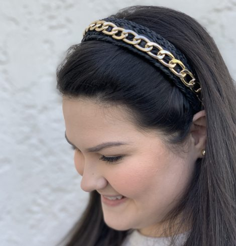 A photo of the Gold Chain Headband In Black product