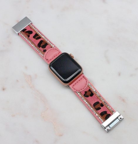 A photo of the Pink Leopard Apple Watch Band product