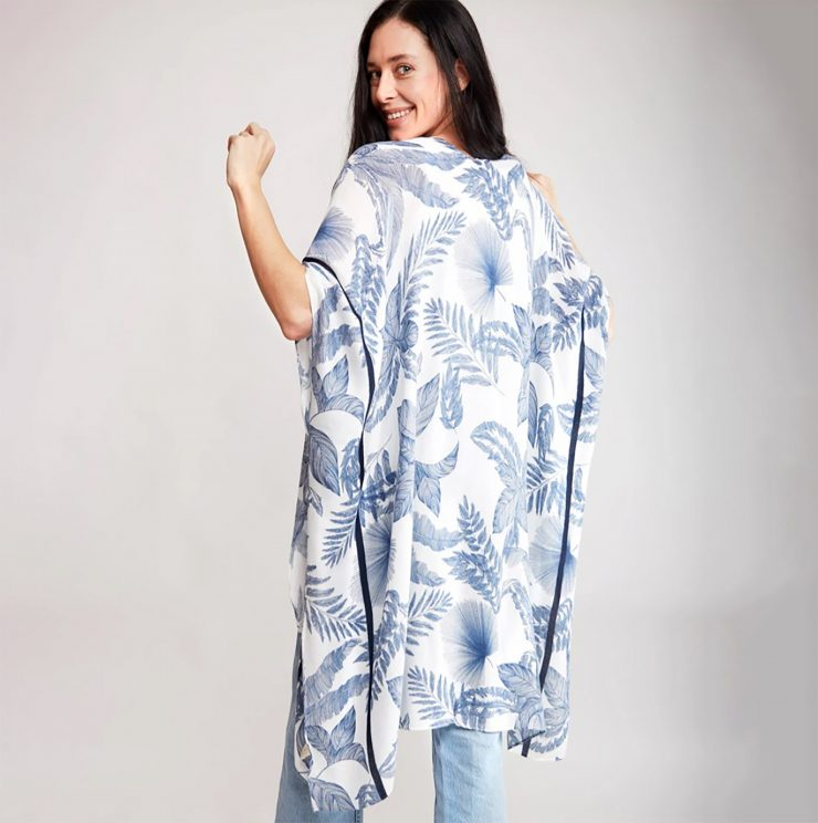 A photo of the Blue Leaves Kimono product