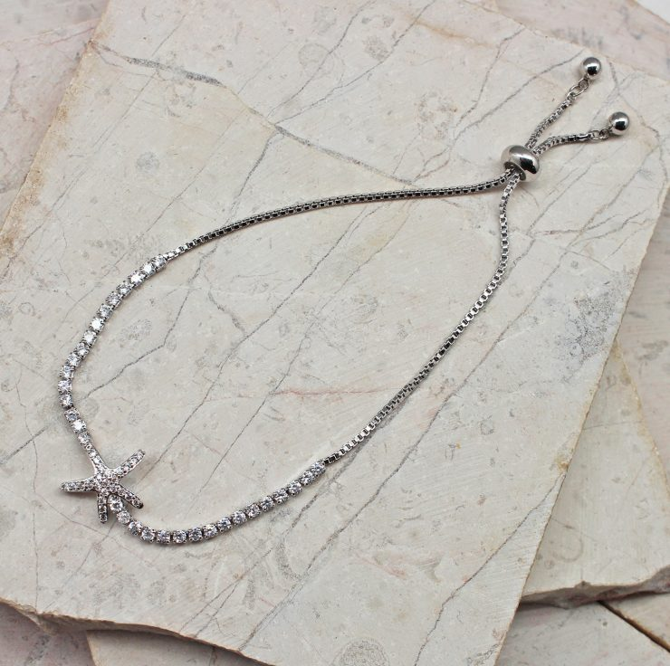 A photo of the Dazzling Starfish Adjustable Bracelet In Silver product