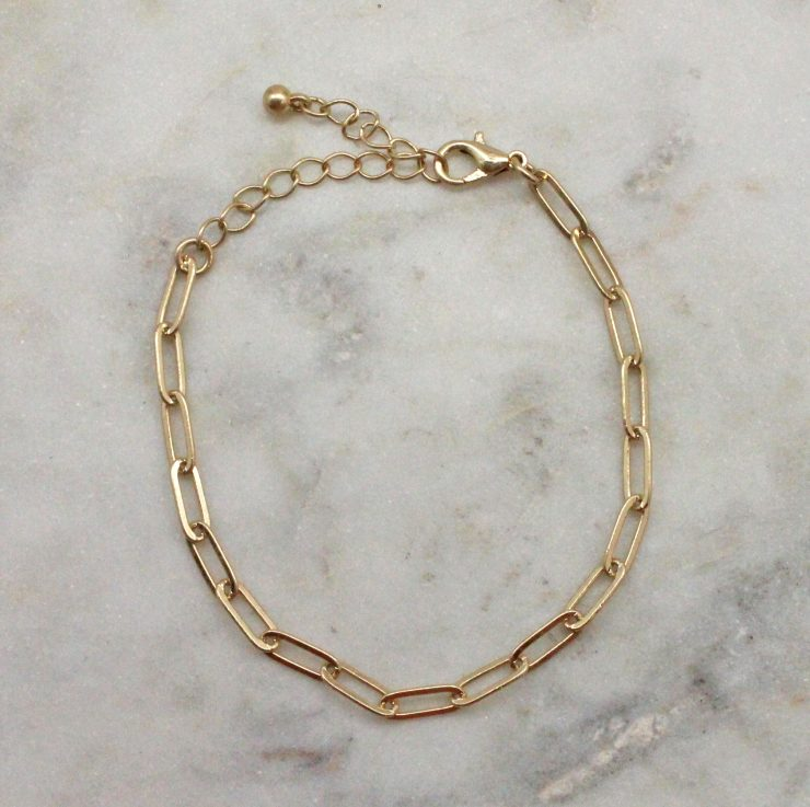 A photo of the Paperclip Bracelet In Gold product