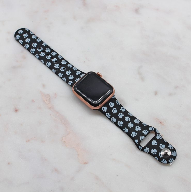 A photo of the Animal Paw Apple Watch Band In Black product