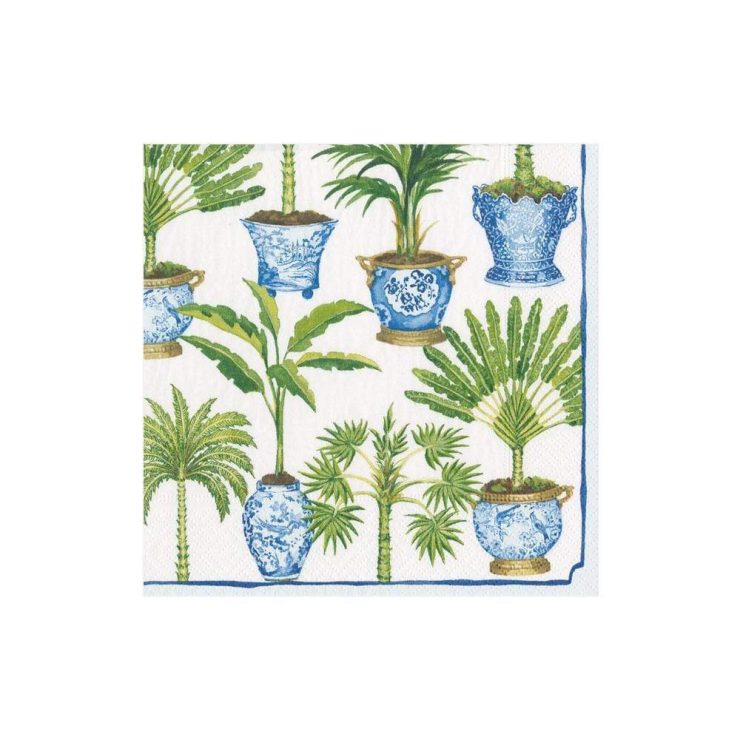 A photo of the Potted Palms Cocktail Napkins In White product