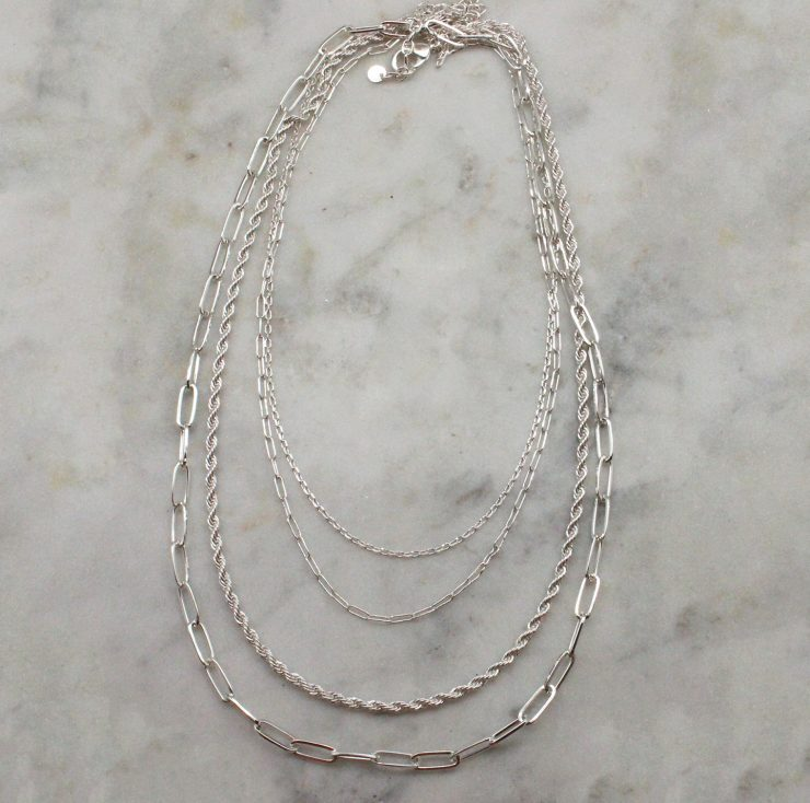 A photo of the Layered Paperclip Necklace In Silver product