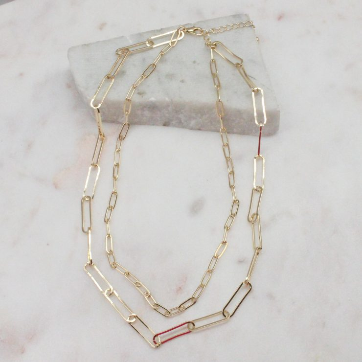 A photo of the Double Link Necklace In Gold product