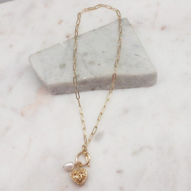 A photo of the True Love Necklace In Gold product