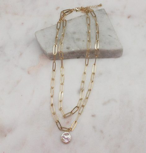 A photo of the Pretty Pearl Paper Clip Necklace In Gold product