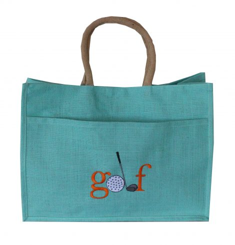 A photo of the Jute Golf Tote In Aruba Blue product