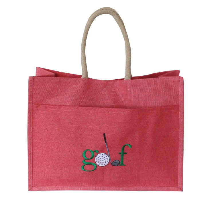 A photo of the Jute Golf Tote In Coral product