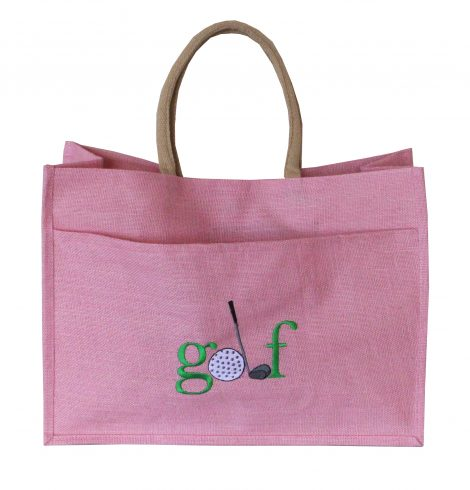 A photo of the Jute Golf Tote In Light Pink product