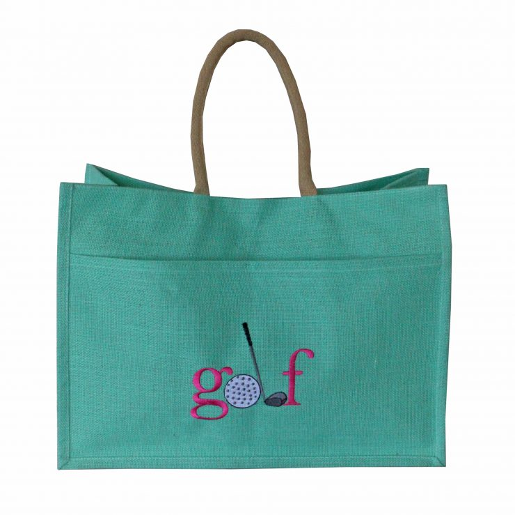 A photo of the Jute Golf Tote In Mint product
