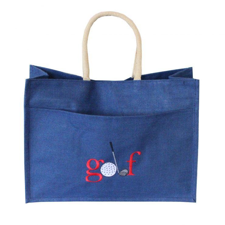 A photo of the Jute Golf Tote In Navy product