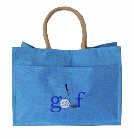 A photo of the Jute Golf Tote In Palace Blue product