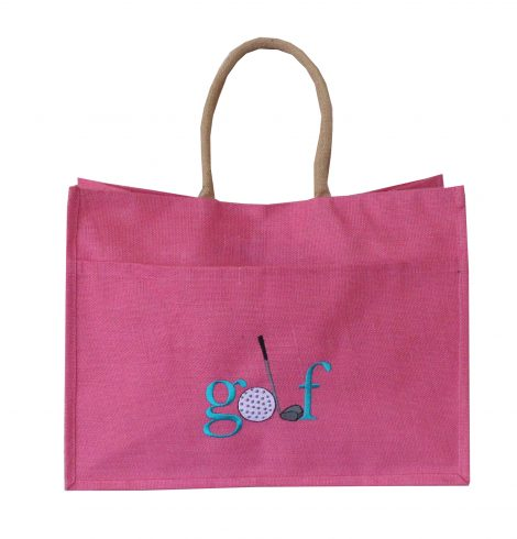 A photo of the Jute Golf Tote In Hot Pink product
