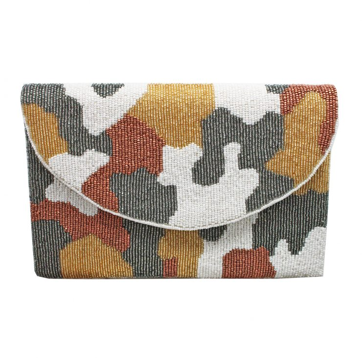 A photo of the Neutral Camo Beaded Clutch product