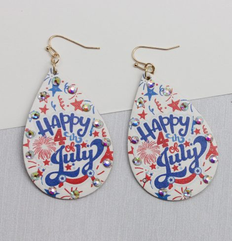 A photo of the 4th Of July Teardrop Earrings product