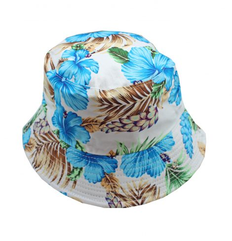 A photo of the Blue Hibiscus Bucket Hat product