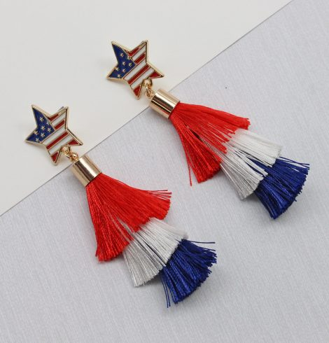 A photo of the Patriotic Tassel Earrings product