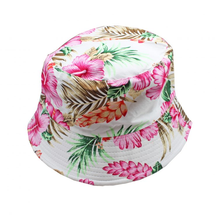 A photo of the Pink Hibiscus Bucket Hat product