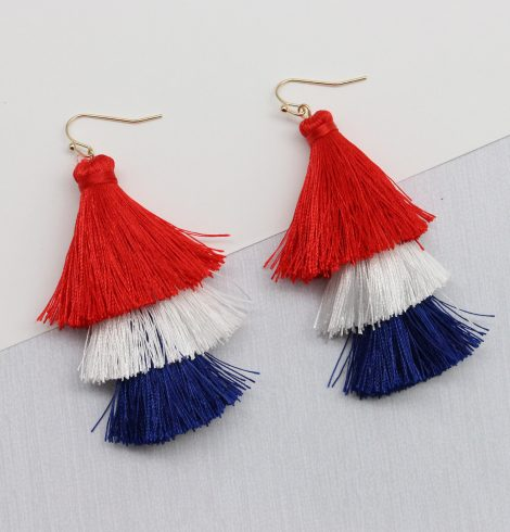 A photo of the Red, White & Boom Tassel Earrings product