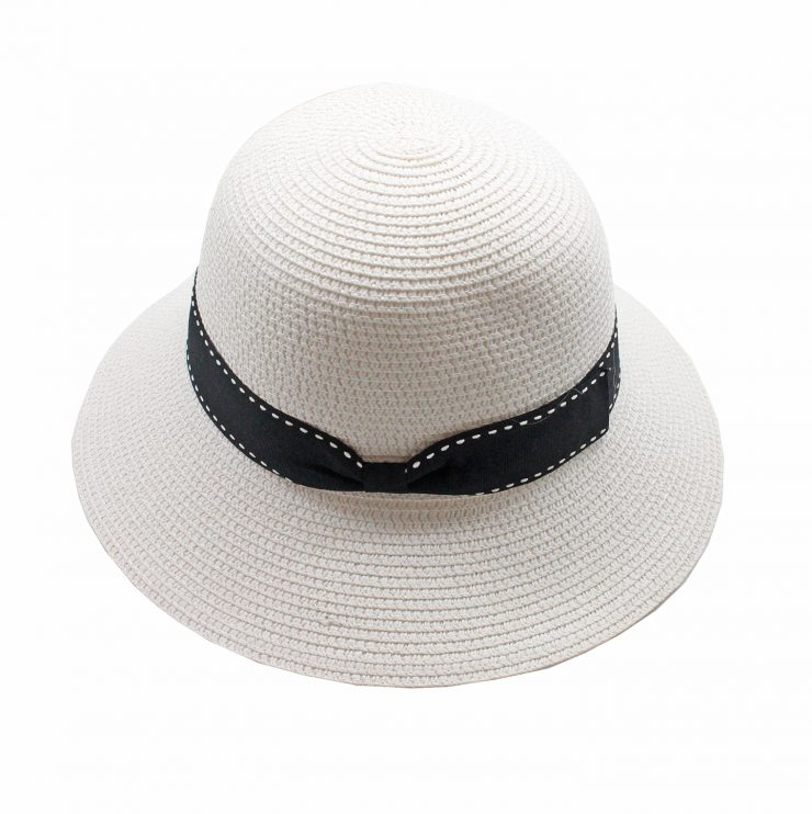 A photo of the Straw Bucket Hat In White product