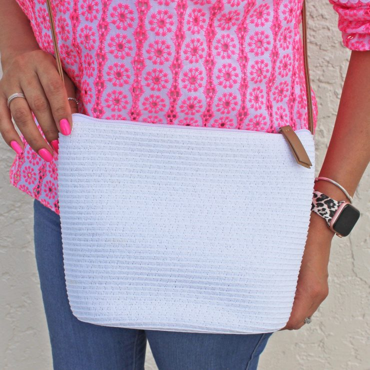A photo of the Straw Handbag In White product