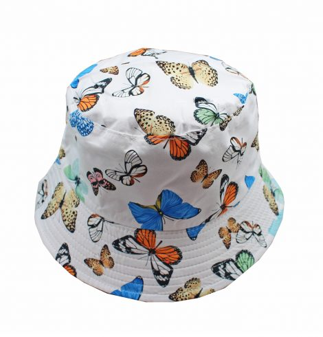 A photo of the Butterfly Bucket Hat In White product