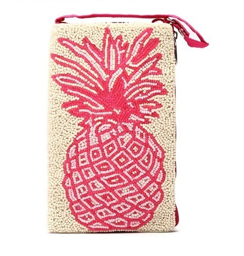 A photo of the Pink Pineapple Beaded Crossbody Handbag product