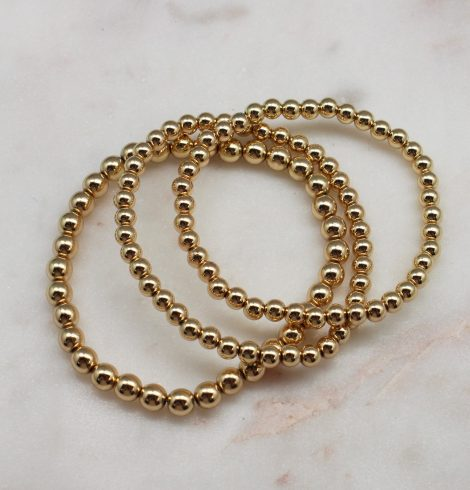 A photo of the Gold Beaded Bracelet Set Of 3 product