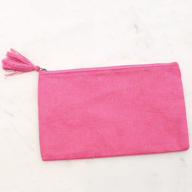 A photo of the Jute Cosmetic Bag In Hot Pink product