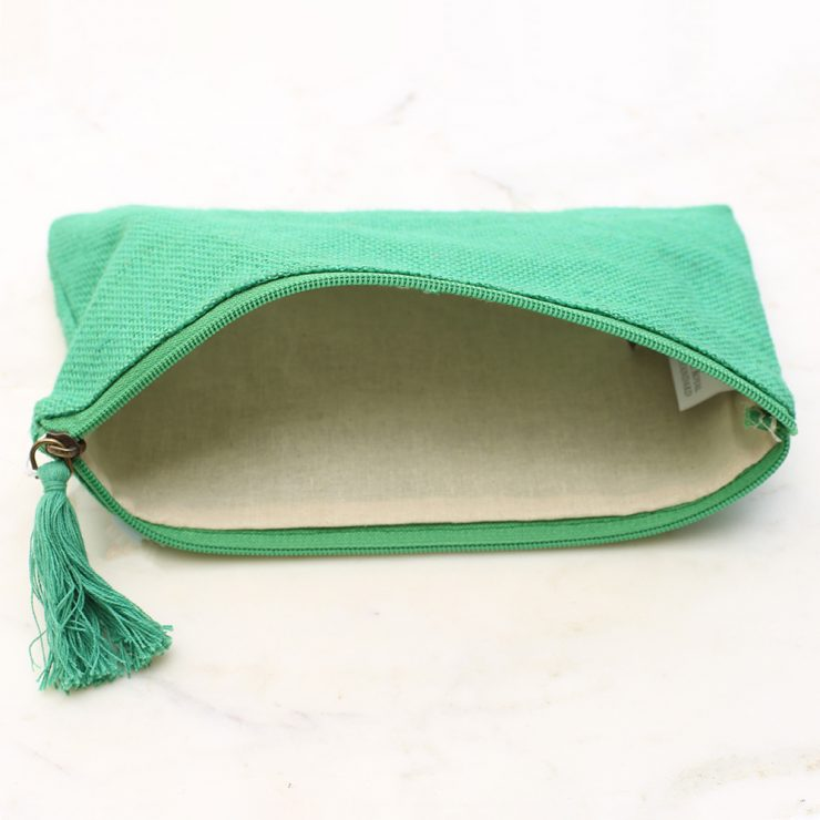 A photo of the Jute Cosmetic Bag In Kelly Green product