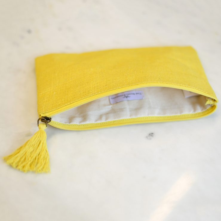A photo of the Jute Cosmetic Bag In Yellow product