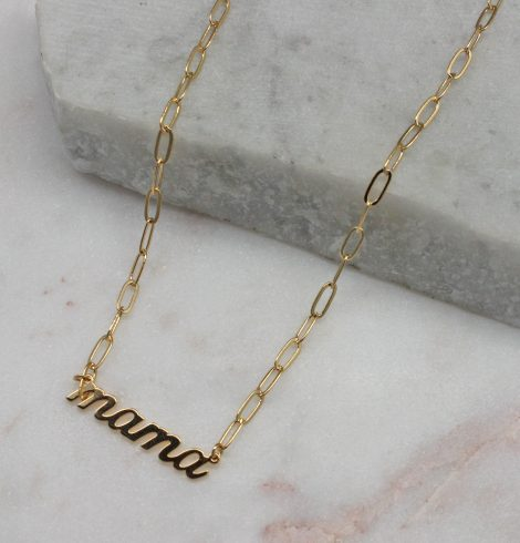 A photo of the Mama Paper Clip Necklace In Gold product
