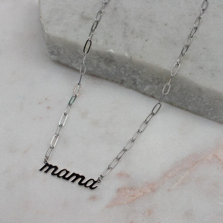A photo of the Mama Paper Clip Necklace In Silver product