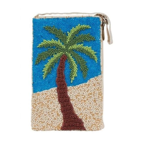A photo of the Tropical Palm Beaded Crossbody Handbag product
