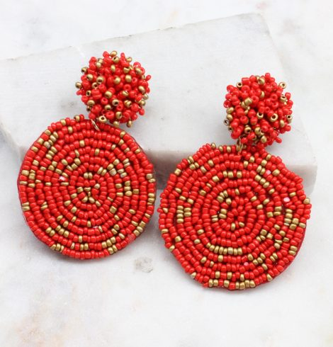 A photo of the Lizzy Earrings In Red & Gold product
