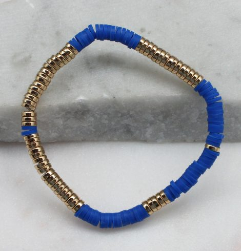 A photo of the Royal Blue & Gold Beaded Bracelet product
