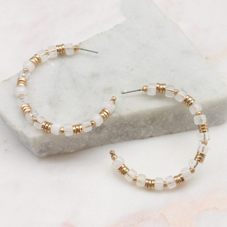 A photo of the Trina Beaded Hoops In White product