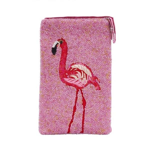 A photo of the Flamingo Beaded Crossbody Handbag product