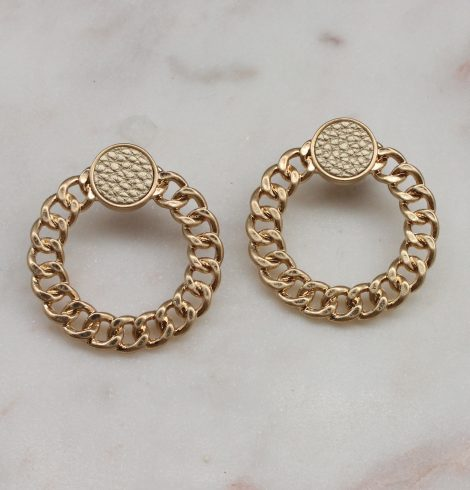 A photo of the Chained Earrings In Gold product