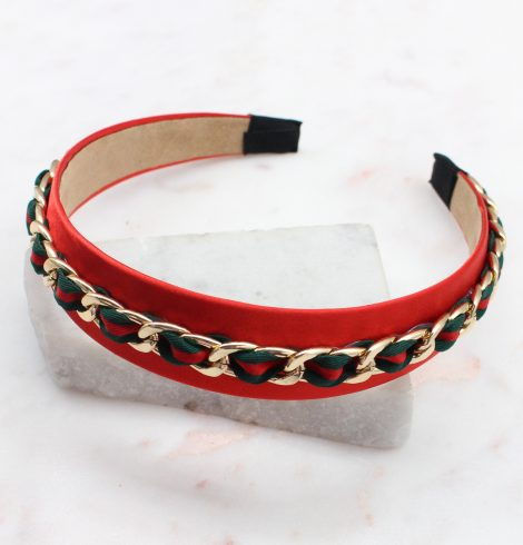 A photo of the Chain Headband In Red product