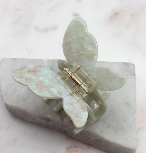 A photo of the Mint Iridescent Butterfly Clip product