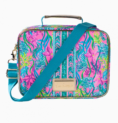 A photo of the Lilly Pulitzer Insulated Lunch Box In Party All The Tide product
