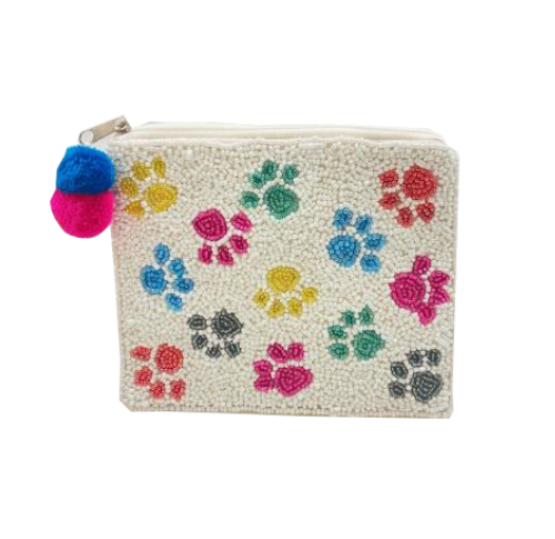 A photo of the Paw Print Beaded Coin Purse product