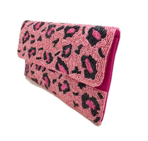 A photo of the Pink Leopard Beaded Handbag product