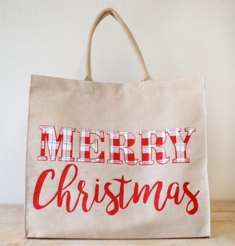 A photo of the Plaid Christmas Carryall Tote product