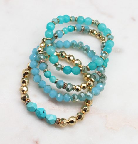 A photo of the Beaded Bracelet Stack In Turquoise product