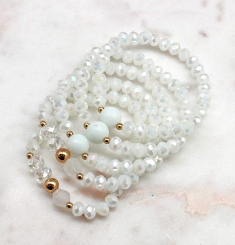 A photo of the Beaded Bracelet Stack In White product